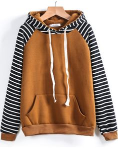 SheIn offers Contrast Striped Raglan Sleeve Hooded Pocket Sweatshirt & more to fit your fashionable needs. Sweatshirts Online, Hooded Sweatshirts, Cotton Hoodies, Shirt Hoodies, Raglan Shirts, Hoody, Cool Outfits, Fashion Outfits, Sweatpants Outfit