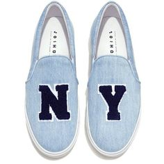 Joshua Sanders - NY Denim Slip On Sneakers ($310) ❤ liked on Polyvore featuring shoes, sneakers, pull-on sneakers, slip on sneakers, denim shoes, slip-on sneakers and pull on shoes