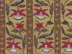 Aleta -artisan and Brigitte Singh fabrics for interiors Aleta, Border Pattern, Floral Stripe, Print Patterns, Bohemian Rug, Artisan, Textiles, Hand Painted, House Decorations