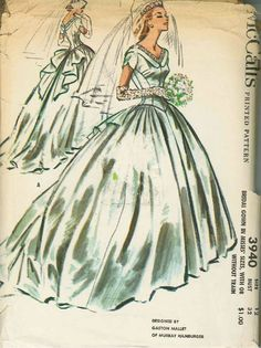Vintage Bridal Gown Sewing Pattern M3940 Size 12 |