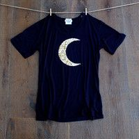 Design Your Own Sequin Tee T Shirt  Navy Blue-  Star USA 4th of July America Moon Luna Chevron Liam Payne