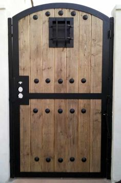 Wood Fence Gates, Metal Garden Gates, Wood Fence Design, Arched Doors, Entrance Doors, Backyard Gates, Custom Gates, House Gate Design, Barn Door Designs