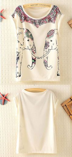Colorful Elephants Batwing Sleeve T-shirt is so cute ! #shirt #elephant