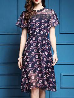 Navy Sheer Floral A-Line Dress