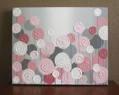"""Pink and Grey Textured Nursery Art, Original Painting on Canvas, 16x20"""" READY TO SHIP"""
