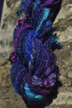 Handspun Navaho Ply ARt YaRN 'Mermaid'  Hand dyed teal & purple merino wool #handmade by #Innerspiral