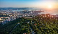 Beautiful sunset over Trieste in Italy