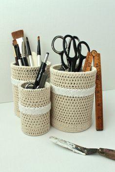 Crochet Pencil Holder Set by creativecarmelina on Etsy, $25.00  Use as lovely desk organizers