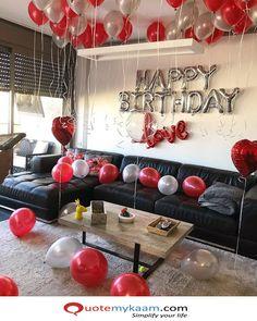 Happy Birthday Love - Book My Balloons Birthday Room Surprise, Birthday Surprises For Him, Birthday Surprise Boyfriend, Happy Birthday Love, 18th Birthday Party, Husband Birthday, Home Birthday Party Ideas, Boyfriends 21st Birthday, Romantic Birthday