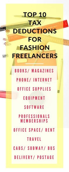 Top Tax Deductions For Fashion Freelancers http://pickglass.com/tax-deductions-fashion-freelancers/