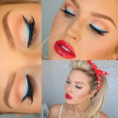 Pinup 4th of July Makeup