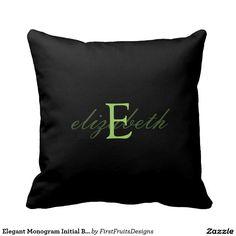 Elegant Monogram Initial Belt - Black Lime Green Throw Pillows