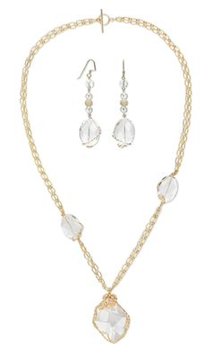 Double-StraDouble-Strand Necklace and Earring Set with Swarovski Crystal Pendant, Quartz Crystal Gemstone Beads and Wirework - Fire Mountain Gems and Beads