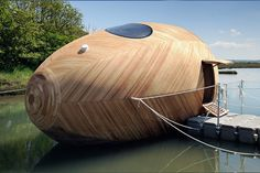 Floating Wooden Sustainable Egg Pod Is Home To Artist Stephen Turner For A Year.