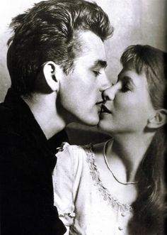 James Dean and Julie Harris kissing in  'East of Eden' (1955)