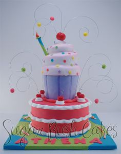 giant cupcake - love the crazy bits of wire- bring a lot of energy to the cake Giant Cupcake Cakes, Cupcake Party, Birthday Cupcakes, Cupcake Cookies, Mini Cakes, Cake Icing, Fondant Cakes, Eat Cake, Frosting
