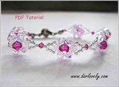 Beaded Bracelet Pattern Pink Dainty Flower Bracelet BB068