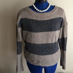 Ann Taylor Loft sweater Sparkly wide stripes Ann Taylo Loft Sweaters Crew & Scoop Necks
