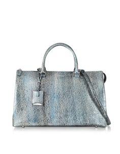 Jil Sander Handbags That Are On Sale -  Jil Sander Large Jil Bag Silver and Blue Metallic Knitted Leather Satchel-  $999 on Forzieri