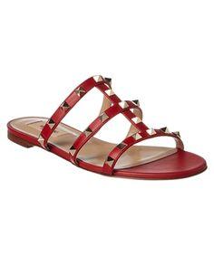Valentino Garavani Valentino Rockstud Leather Slide Sandal In Red Black Sunglasses, Sunglasses Women, Gladiator Sandals, Shoes Sandals, Heels, Valentino Rockstud, Valentino Shoes, Mango Shoes, Nike Slippers