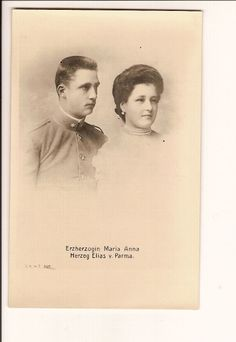 """Prince Elias of Bourbon Parma (1880-1959)  with his wife,  Archduchess Maria Anna of Austria, Princess of Bohemian, Hungary, and Tuscany.  Elias was a son of Robert I, the deposed King of Parma, so Elias now had an empty title.  He was a """"ghost royal"""".  However he still had a lot of money and his family lived well as he inherited half of his father's estate even though King Robert I had twenty four children.  Elias and Anna Maria only had eight children, most of whom never married."""