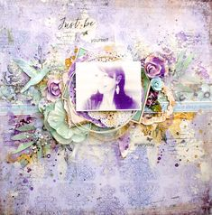 Scraps of Elegance scrapbook kits; lavender mixed media layout by  Lisa Griffith…