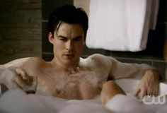 ian somerhalder as christian grey - naked in a bathtub with some vino? yes, please! -  fifty shades of grey #smolderhalder