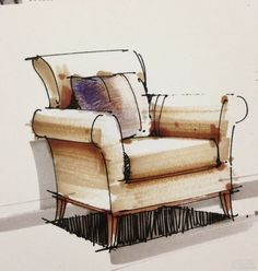 Hanging Chairs Lights - Upholstered Chairs DIY Videos - - Rustic Leather Accent Chairs - Chairs Design Old - Round Comfy Chairs Interior Design Renderings, Drawing Interior, Interior Rendering, Interior Sketch, Interior Architecture, Drawing Furniture, Chair Drawing, Furniture Design, Furniture Sketches