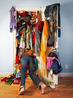 OMG, my closet (except mine is organized for a few days). Need to read this: Questions to Ask as You Declutter - Spring Cleaning Tips - Good Housekeeping Hard Questions To Ask, This Or That Questions, Cleaning Closet, Cleaning Hacks, Feng Shui, Clean Out, Vide Dressing, Good Housekeeping, Organizing Your Home