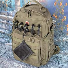 BOOSTEADY 10 Pack Multipurpose D-Ring Grimloc Locking for Molle Webbing with Zippered Pouch : Sports & Outdoors Backpack Accessories Mochila Edc, Tactical Backpack, Survival Stuff, Cool Backpacks, Zipper Pouch, Diy Fashion, Gadgets, Outdoors, Backpacks