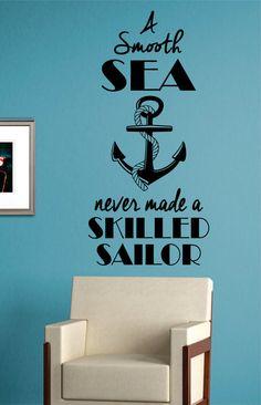 Skilled Sailor Anchor Quote Version 1 Nautical Ocean Beach Decal Sticker Wall Vinyl Art Decor