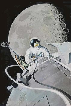 This is the view Al Worden had during his EVA. Beautifully rendered by artist Pierre Mion.