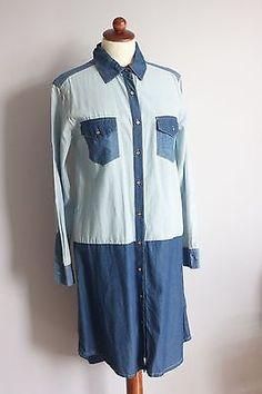 Gorman Denim Shirt Dress Patch Pockets Button down Two tone Size Small Denim Button Up, Button Up Shirts, Denim Shirt Dress, Ebay Clothing, Rain Jacket, Windbreaker, Pockets, Clothes For Women, Mens Tops