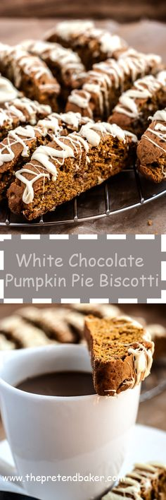 easy recipe for a sweet and crunchy white chocolate pumpkin pie biscotti. The perfect treat to have with your morning coffee.