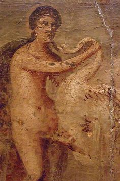 Painting of Leda and the Swan excavated from Pompeii displayed in the 'Secret Room' at the Naples Archaeological Museum Roman 1st century BCE-1st century CE