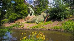 Crystal Palace Park sphinx statues, a fishing hole and Victorian dinosaur sculptures - a unique park