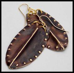 ISA - Handorged Foldformed Flamed Bronze Shield Earrings $32.00