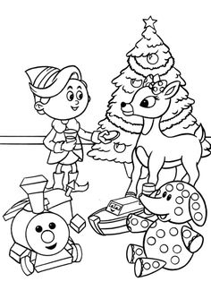 Rudolph With Children In Christmas Day Coloring For Kids - Rudolph Coloring Pages : KidsDrawing – Free Coloring Pages Online