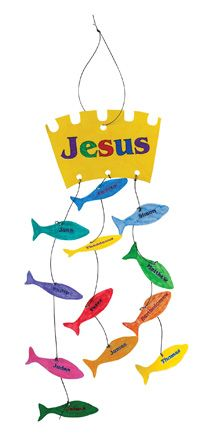 An adorable craft to hang in your room! It helps us to remember the biggest catch of all! Jesus calls his 12 disciples by name and teaches them to be fishers of men!