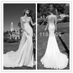 New Elegant Sexy Mermaid V-Neck backless Wedding Dresses 2014  XK-072 $154.99