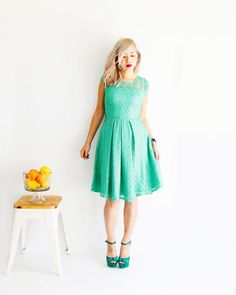 + D E T A I L S  - a delicate weave of pearlescent lace in brilliant mint green - short cap sleeves for added coverage - demure knee skimming skirt with hidden side pockets - full pleated skirt with subtle back drape - ladylike boatneck neckline with back V - a dress for all occasions : bridesmaids, weddings, events and parties Shopping for another color? GOSSAMER is available in 8 colors: https://www.etsy.com/shop/ShopApricity?ref=hdr_shop_menu&search_query=...