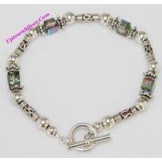 Silpada Artisan Jewelry Catch The Light Swarovski Crystal 925 Sterling Silver Filigree Beads 6.75 Inch Toggle Bracelet Retired Rare