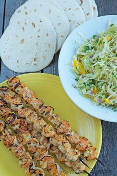 Grilled Shrimp Tacos with Jalapeno Mango Slaw Ingredients
