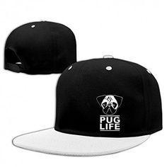 1e8890cb224f4 White Unisex Pug Life Stuggy Snapback Hat Printing Snapback Hats. DIY  BaseballCaps · Hip Hop caps