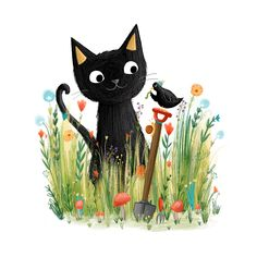 Cat sat in the over-growth. By Lucy Fleming Illustrations.