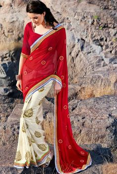 USD 57.17 Red and White Faux Georgette Party Wear Saree 30472