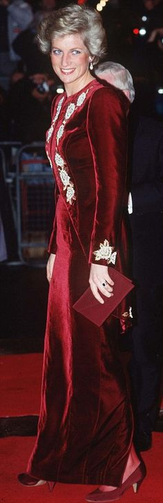 Diana wore this burgundy velvet gown for the film premiere of 'Steel Magnolias' on February 7, 1990, and on a state visit to Korea in 1992.