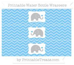 Pastel Light Blue Chevron Baby Elephant Water Bottle Wrappers