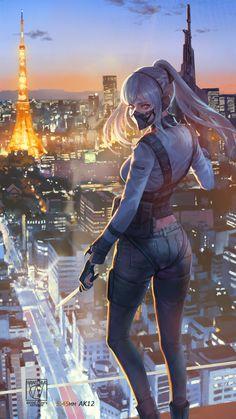 Next Level Girl Assassin Cool Anime Girl, Kawaii Anime Girl, Anime Art Girl, Manga Girl, Fantasy Art Women, Dark Fantasy Art, Fantasy Girl, Anime Warrior, Warrior Girl