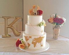 undefined Wedding Cake Prices, Wedding Cake Designs, Wedding Cake Toppers, Themed Wedding Cakes, Themed Cakes, Travel Cake, Gold Cake Topper, Cake Pricing, Painted Cakes